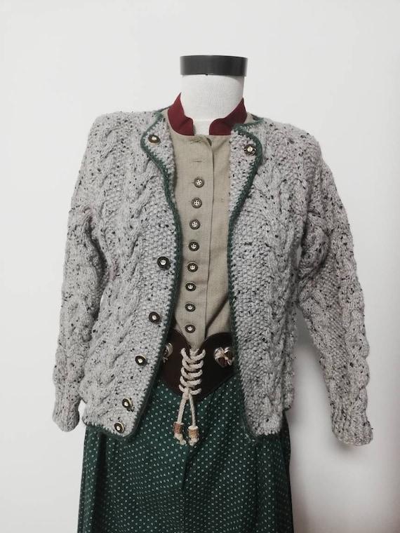 Tyrolean hand knit sweater, wool sweater, long sl… - image 6