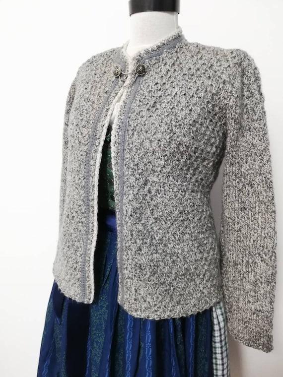 Tyrolean hand knit sweater, wool sweater,grey Aust