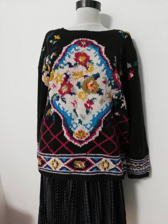 Flower bouquet black knit sweater vintage sweater… - image 4