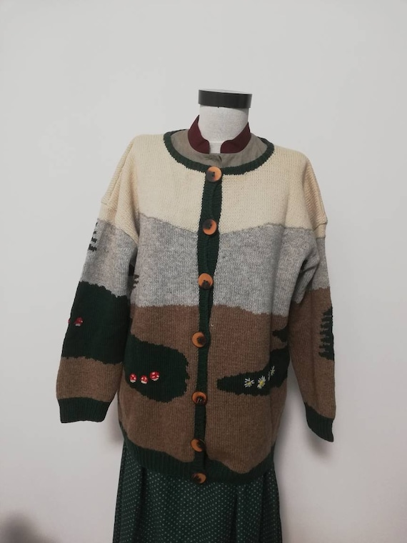 80's novelty sweater, scenic sweater vintage, wool
