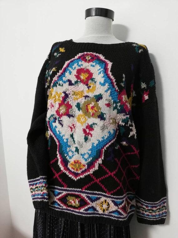 Flower bouquet black knit sweater vintage sweater… - image 6