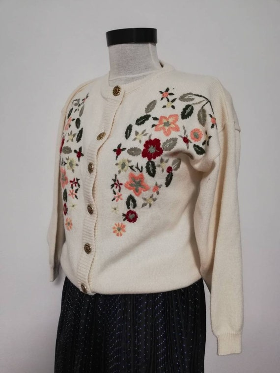 Winter flower knit sweater,  country cardigan, off