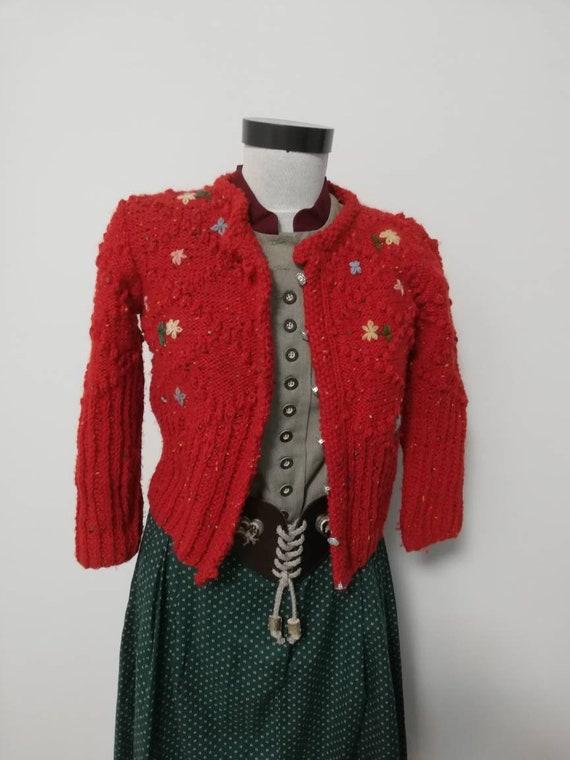 Tyrolean hand knit sweater, wool sweater, hand emb