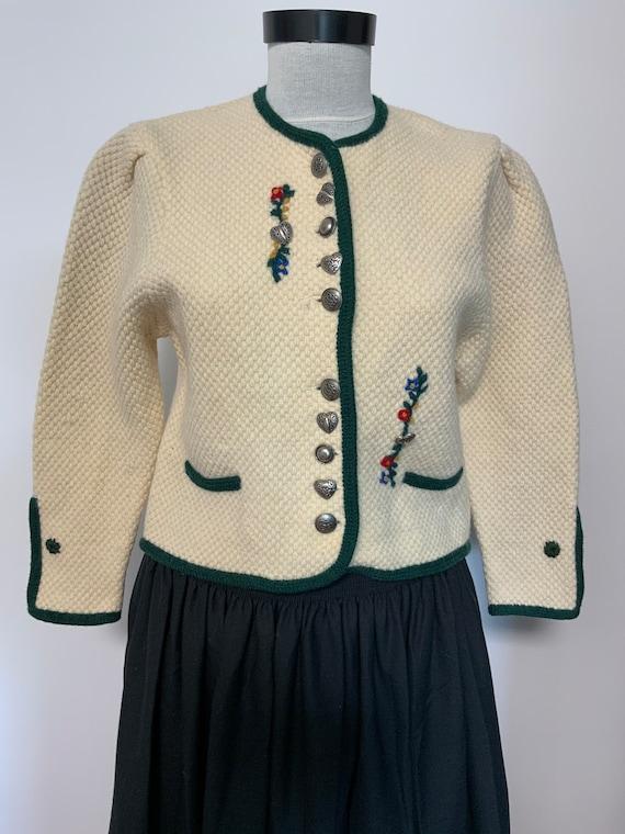 100/% Wool Dirndl Black Folk Mutton Puff Sleeve Wool Cardigan Trachten Bavarian Tyrolean Austrian Cable Knit Chunky Beaded Button Up Sweater