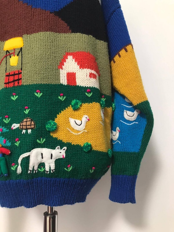 80's novelty sweater,scenic sweater vintage,blue … - image 3
