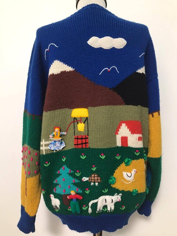 80's novelty sweater,scenic sweater vintage,blue … - image 5
