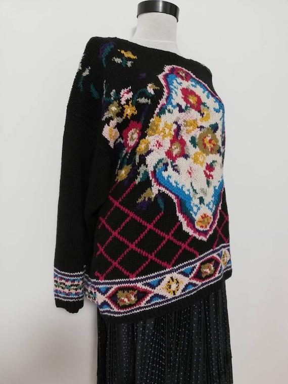 Flower bouquet black knit sweater vintage sweater… - image 3