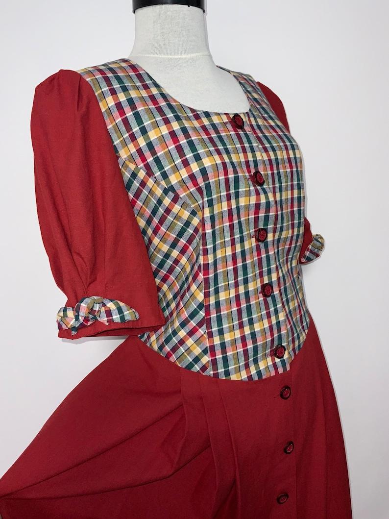 tyrolean dress German Austrian dress vintage vintage DIRNDL Gorgeous red  checkered dirndl dress trachten Oktoberfest fashion prairie