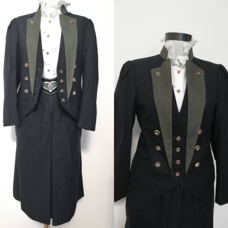 trachten suit Oktoberfest Clothing black dirndl suit 2 piece vintage suit Austrian fashion Dirndl skirt and blazer black  German suit