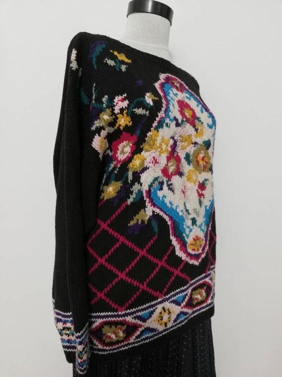 Flower bouquet black knit sweater vintage sweater… - image 2