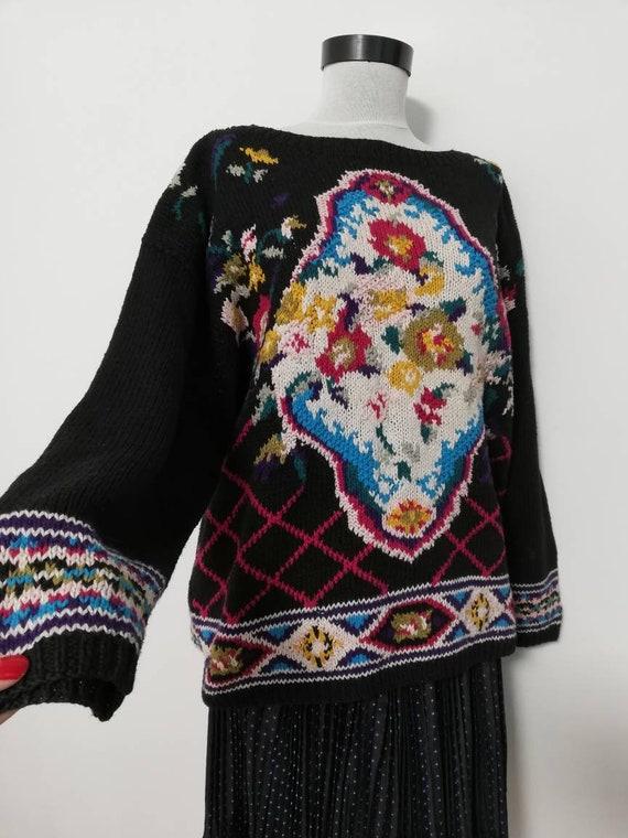Flower bouquet black knit sweater vintage sweater… - image 7