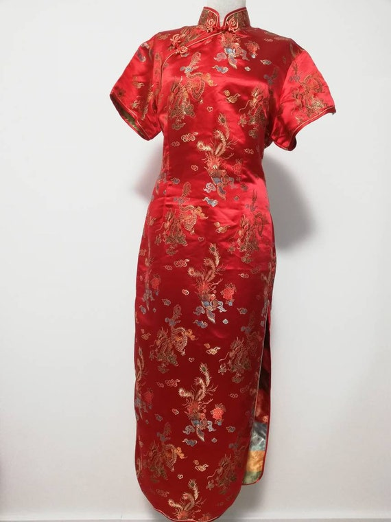 Chinese silk dress, red kimono, ethnic dress, vint