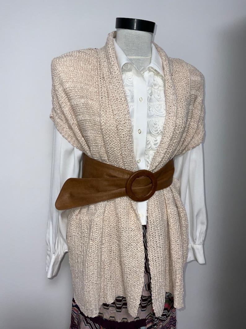 cream pink knitted vest L size vest crochet vest cream spring vest office vest vintage vest sleeveless cardigan y2k vest