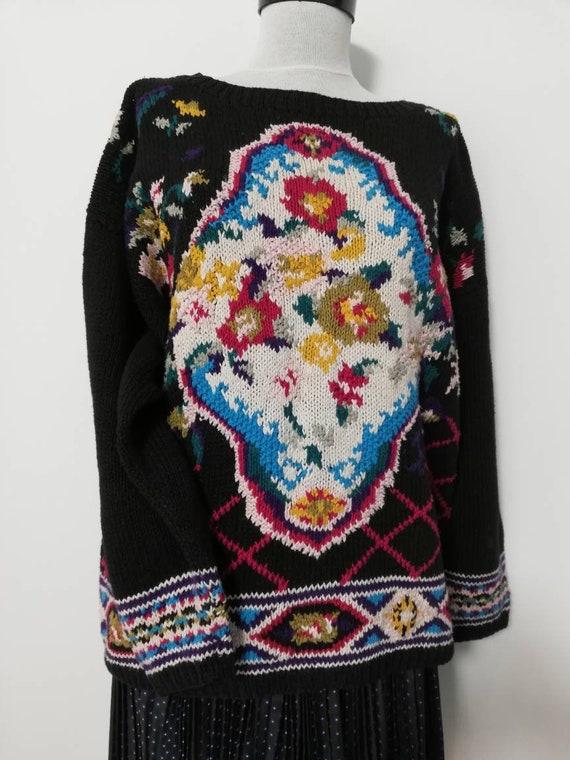 Flower bouquet black knit sweater vintage sweater… - image 1