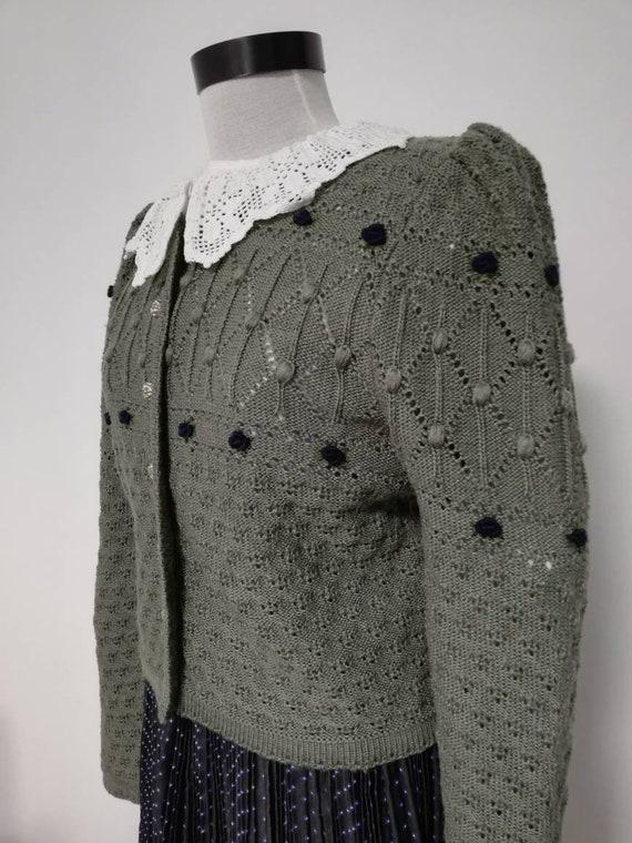 Tyrolean  knit sweater, wool sweater, Austrian Car