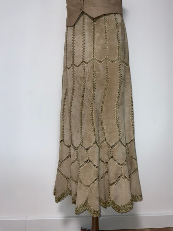 Vintage leather crochet patchwork maxy skirt, Brow
