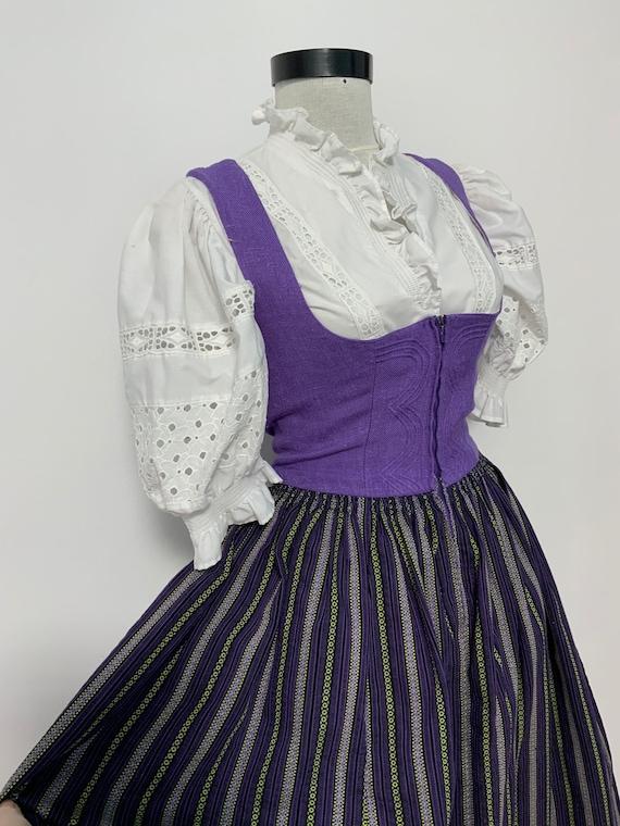 purple Gingham Dirndl Dress Oktoberfest Clothing purple  Dirndl bavarian dress German Dress Festival Dress Folk Dress oktoberfest dress M