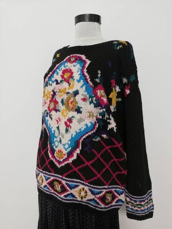 Flower bouquet black knit sweater vintage sweater… - image 5
