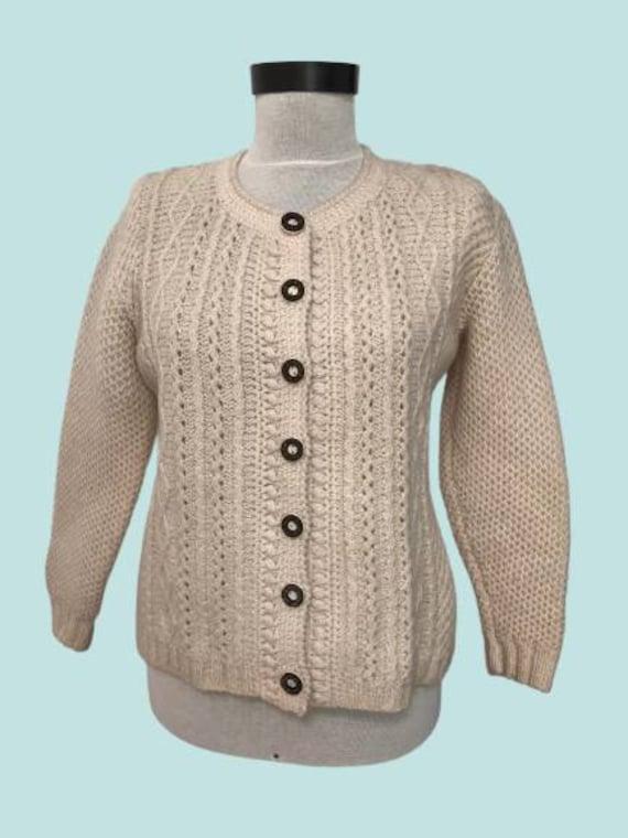 Tyrolean  sweater, wool Austrian  cardigan, Bavari