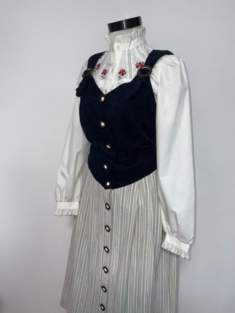 trachten grey and navy dirndl German Austrian dress prairie tyrollean dress Gorgeous vintage dirndl Oktoberfest fashion
