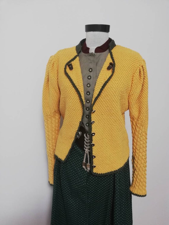 Tyrolean hand knit sweater, yellow sweater, balloo