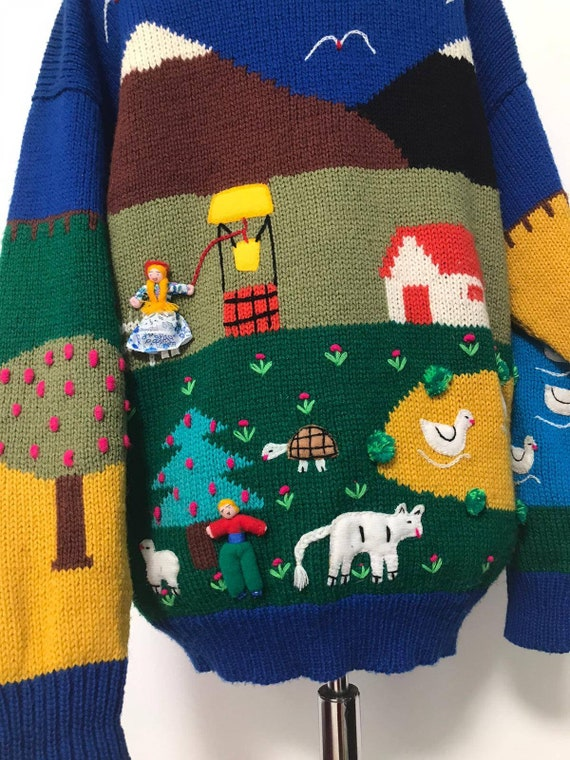 80's novelty sweater,scenic sweater vintage,blue … - image 6