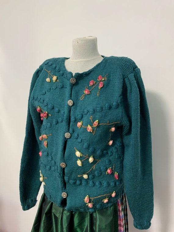 Tyrolean  sweater, wool Austrian sweater, Bavarian