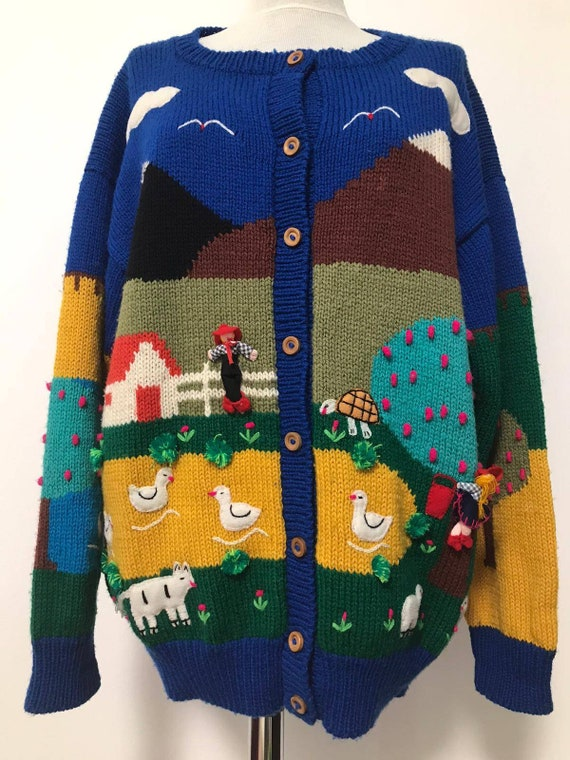 80's novelty sweater,scenic sweater vintage,blue … - image 1