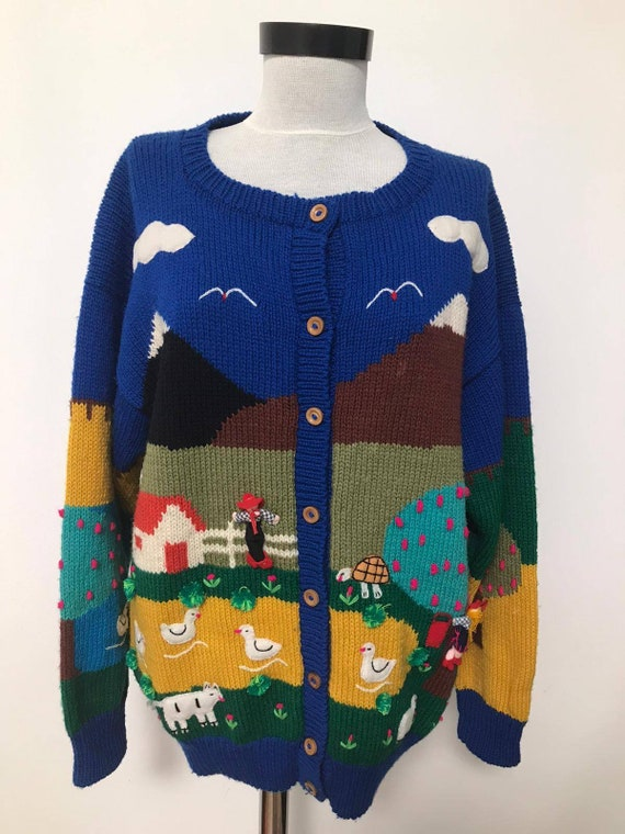 80's novelty sweater,scenic sweater vintage,blue … - image 7