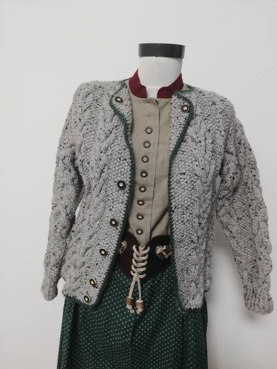 Tyrolean hand knit sweater, wool sweater, long sl… - image 1
