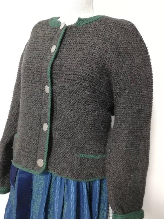 Tyrolean hand knit sweater, wool sweater,black Aus