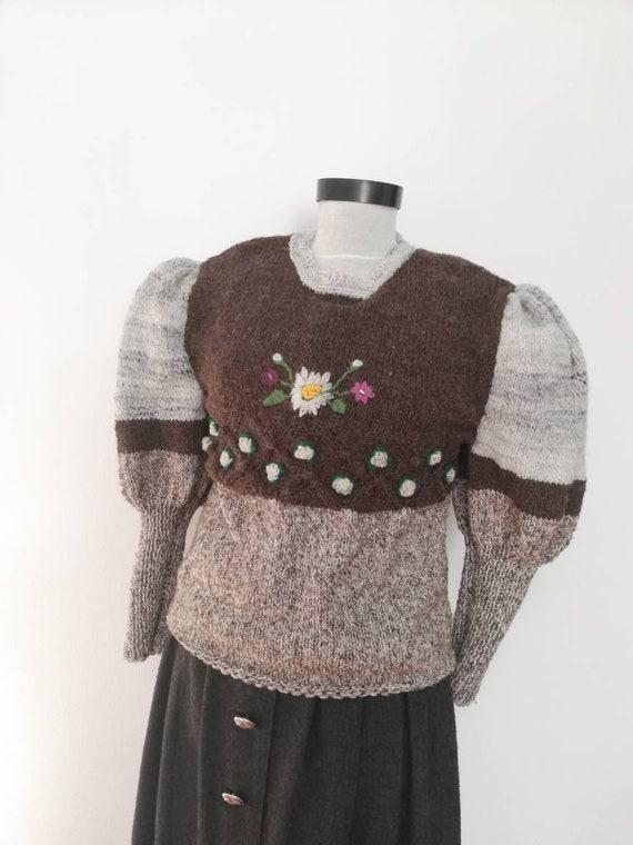 Tyrolean  sweater,handmade  embroidery wool Austri