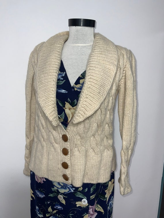 pre-owned vintage eggshell cardigan sweater