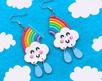 Raining Rainbow Earrings   MADE TO ORDER