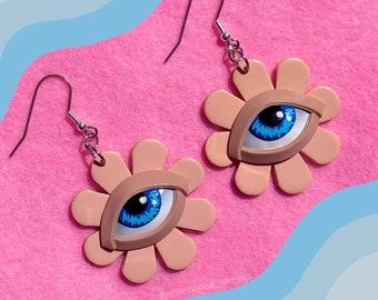 Eye Flower Earrings - Beige