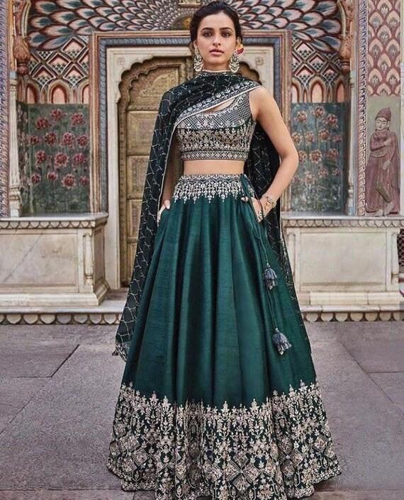 Bollywood Indian Ethnic Costume Tendance Lengha Designer Party Mariage Lehenga Choli