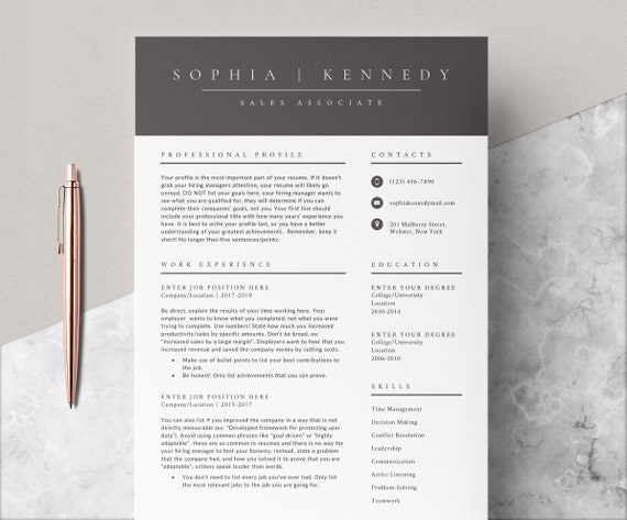 4 Page Resume Template Cover Letter And References Template Etsy