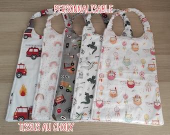 Kindergarten canteen towel, girl and boy napkin, child elastic bib, personalized elastic towel