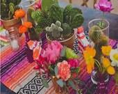 Pink Orange Mexican Blanket Table Runner for Fiesta, Weddings, Showers, Cinco de Mayo