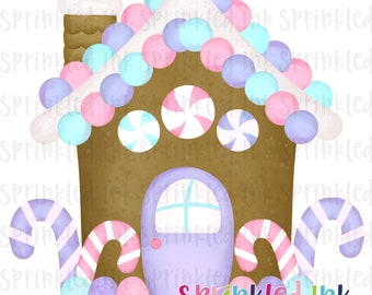 Watercolor PNG Lavender and Pink Gingerbread House Download File