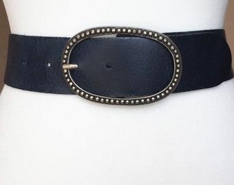 Wide navy belt | Etsy