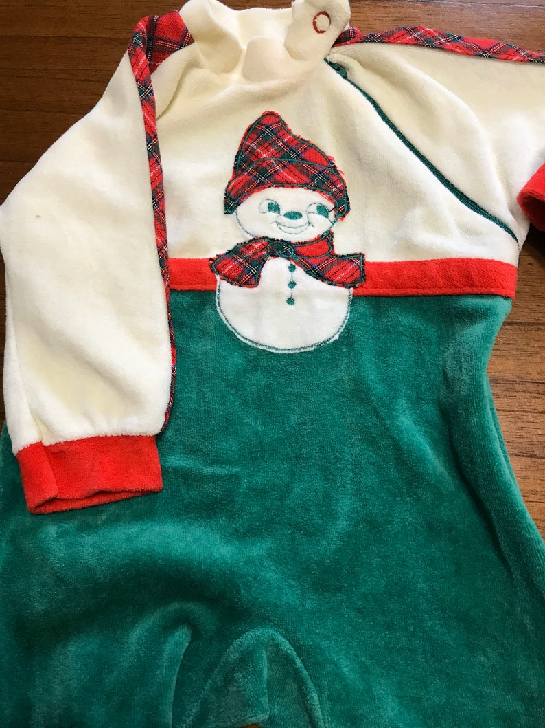 Vintage Baby Christmas Outfits Vintage Crushed Velvet Snowman Onesie Size 14lbs Vintage Baby Clothes Vintage Baby Clothing