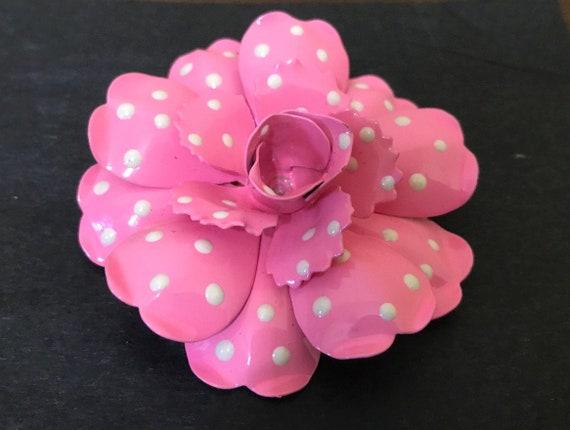 Classic Joan Rivers Pink Polka Dot Flower Pin   Vi