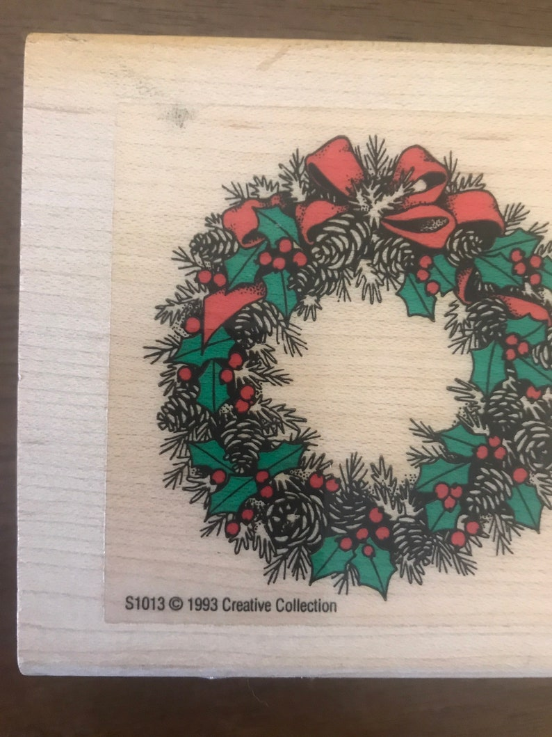 Vintage 90s Christmas Rubber Stamps Scrapbooking Christmas 90s Creative Collection Christmas Stamps 1993 Christmas Wreath Rubber Stamp