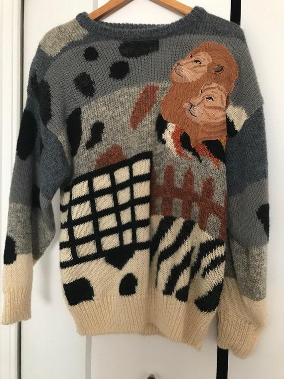 Vintage Acrylic Lion Sweater | Vintage Unisex Swea