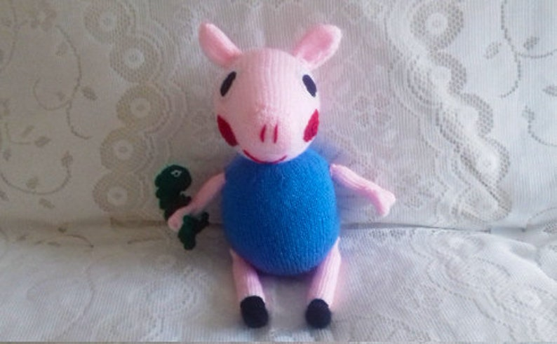 George Pig Handmade knitted Toy with his dinosaur