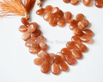 C6462 AAA Quality Loose Gemstone 13x11 MM Size Natural Sunstone Fancy Shape Both Side Smooth 4 Pcs Sunstone Smooth Briolettes