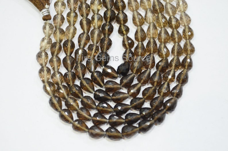 Smoky Faceted Briolettes 7x8-7x10 mm Smoky Faceted Straight Drill Tear Drops Beads 8 BL46FGS41 Sold By Strand