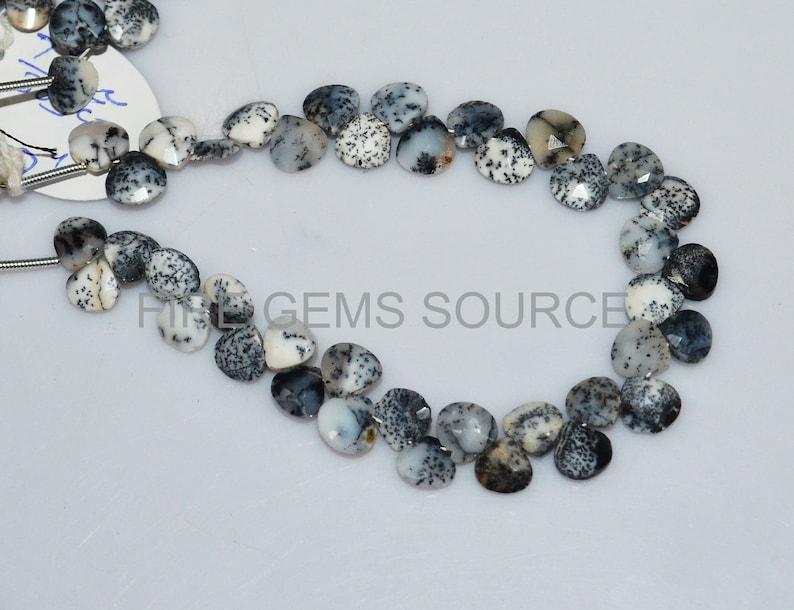 Dendrite Opal Faceted Heart Shape Beads 7X7 mm Natural Dendrite Opal Faceted Heart Shape Briolettes BL50FGS33