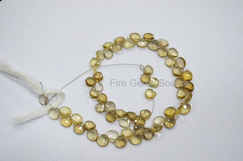 Champagne Quartz Faceted Briolettes 6x6-7.5x7.5 mm BL12FGS26 9 Natural Champagne Quartz Heart Shape Beads
